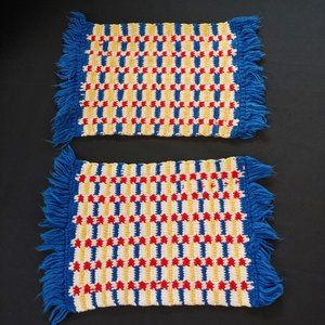 2 Vintage Reversible Plaid Placemats Red Blue Yell
